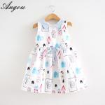 Angou Girls Dress Brand Fashion Princess Dress Designer Character Painting dress wholesale Manufactures