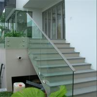 Modern simple design side mount glass staircase railing with stainless steel standoff fixing Manufactures