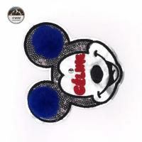 Cartoon Character Mickey Mouse Patches , Disney Iron On Patches With Fluff Ball Special Craft Manufactures