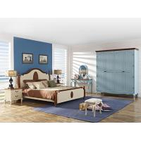Crown of ancient Rome Rubber headboard bed in natural wood and column with Theropods legs open door wardrobe cabinet Manufactures