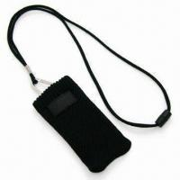 Handy Mobile Phone Sock Lanyard with Woven Label and Adjustor Attached, Made of Polyester Manufactures