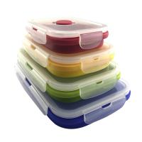 China Custom Hot Selling Microwave Safe Collapsible Lunch Box Freezer Dishwasher Contain Food Grade Portable Silicone Foldable on sale