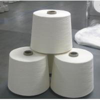 Knotless Dope Polyester Raw White Yarn , Bleach White Staple Spun Polyester Manufactures