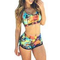 High Stretched Womens Swimming Suits Two Piece Swimwear 82% Nylon 18% Spandex Manufactures
