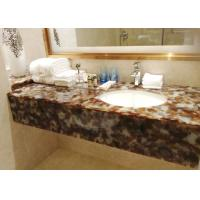 Brown Bath Jade Stone Countertops Supplier With Single Basin , Honed Stone Countertops Manufactures