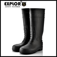 Ladies PVC rain boots with steel toe work boots safety boots for men Black Manufactures