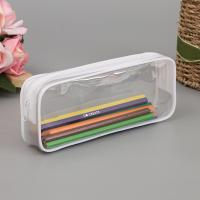 China Black and White Clear PVC Zipper Pen Pencil Case Big Capacity Pencil Bag Students Stationery Case on sale