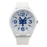 White Silicone Bracelet Watch Waterproof Alloy Case With Blue Up Manufactures
