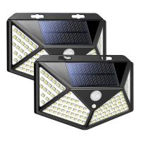 100 LED 114 LED Solar Sensor Wall Light 10W Waterproof Garden Solar Powered Lamp for Outdoor Customized Manufactures