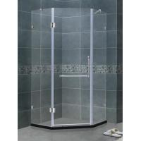 Simple Diamond Shape Frameless Hinged Glass Tub Doors Clear Glass With Support Bar Manufactures