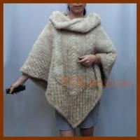 China knitted Mink fur ponch, mink fur cape -MKM105# wholesale