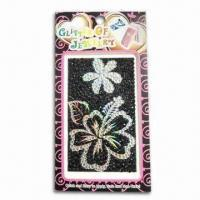Mobile Phone Diamond/Crystal Stickers, Customized Artworks are Accepted, Safe and Non-toxic