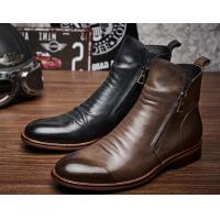 China Fashion Casual Mens Leather Dress Boots Zipper Closure Type With Rubber Sole on sale