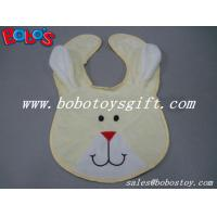 13Wholesale Baby Items Plush Embroidery Beige Rabbit Baby Bibs Manufactures