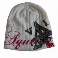 Knitted Beanie Hat with Fashion Logo Made by Printing, Diamond and Flocking Manufactures