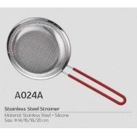 16cm metal cooking tool stainless steel big basket strainer with plastic metal,silicone handle with FDA certificate Manufactures