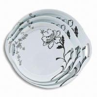 Round Tray and Plate Set, Made of Melamine, Customized Colors, Designs, and Sizes are Accepted Manufactures