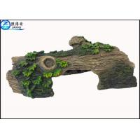 China Hollow Log Tree Aquarium Ornament With Green Plants ,  Custom Tropical Fish Tank Decorations on sale