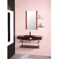 Red Color Wall Mounted Glass Bathroom Vanity Cabinet (5165) Manufactures