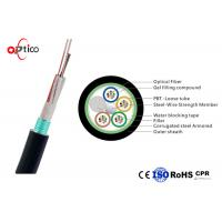 China Rodent Resistance Fiber Optic Cable 48 Core Steel Tape Armored Single Mode Fiber G652D on sale