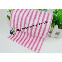 Quality Green Red Striped Microfiber Cleaning Cloth , Glass Cleaning Microfiber Cloths for sale