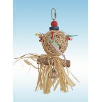 natural vine parrot toys 10 inches raffia jellyfish with bell for conure Manufactures