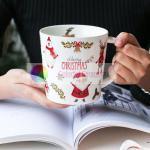 breakfast ware christmas ceramic lovely mug gold decal coffee cup milk mug water mug homeuse mug Manufactures
