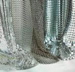 Silver / Golden Wire Mesh Curtain Aluminum Metallic Sequined Fabrics Multi Shape Manufactures