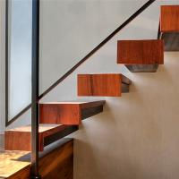 Modern indoor wood staircase invisible stringer wood tread floating stairs Manufactures