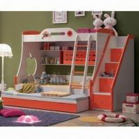 Quality Bunk Bed with Sliding Bed and Stairs Cabinet, Comes in Orange and Glossy Painting Finish for sale