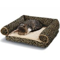 China Leopard Print Memory Foam Bolster Dog Bed Suede Fabric Cover Non - Slip Bottom on sale