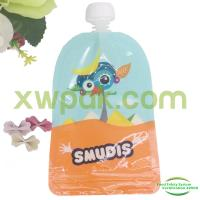 China Customized Logo Plastic Spout Pouch Bag Baby Food With Resealable Double Zipper on sale