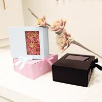 China Card Board Paper PVC Window Folding Packaging Boxes Tie A Bow Ribbon Rose on sale