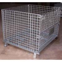 China foldable lockable wire mesh transport metal storage wire mesh pallet cage on sale