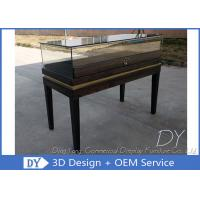Black Wooden Custom Glass Display Cases , Exhibition Display Counter‎ Manufactures