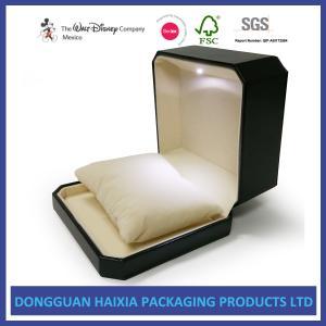 China LED Design Jewellery Presentation Box , PU Leather Ring Box Customized Size on sale