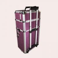 China Black Lining Aluminium Trolley Case , Polka Dot Makeup Case With Shiny Metal Corners on sale