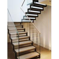 Stainless steel straight solid wood staircase with glass balustrade Manufactures