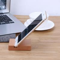 Solid Wood Desk Organizer For Phone / Pad , Wooden Phone Stand Cubic Manufactures