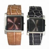 China Fashionable Watch Gift Set with Stainless Steel Case, Genuine Leather Band on sale
