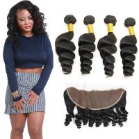 Authentic 8A Loose Curly Indian Remy Hair Weave 4 Bundles With Frontal