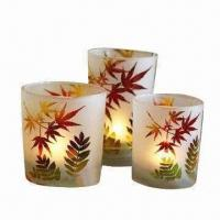 Quality Candle Holder Gift Set with Sand-blasted Leaves Design and Decorated Glass Plate for sale