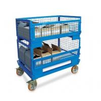 China Heavy-duty rigid rolling collapsible wire mesh container with caster stacking wire mesh cage on sale