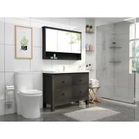 Farmhouse White / Black Bathroom Vanity With Sink Mirror Cabinet Floor Standing Manufactures