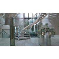 Prefab metal stringer frame glass railing arc curved staircase Manufactures