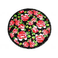 China Australian Flowered Bath Towels / Circle Beach Towel Red Rose With Black Tassels on sale