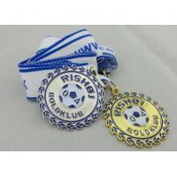 2D or 3D Gold Plating Iron / Brass / Zinc Alloy Rishoj Iron Stamped Ribbon Medals with Soft Enamel Manufactures