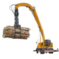 Folding Arm 23 Ton Material Handling Machine Hydraulic Wheeled Material Handler Manufactures