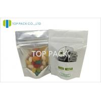 Small White Plastic Stand Up Pouches Front Clear Back Foil With Printing 3.5g Manufactures