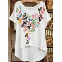 Quality LADY'S CUSTOMED CASUAL UNSHAPED BOTTOM COTTON T-SHIRT for sale